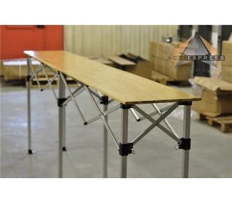 Table pliante hauteur réglable 2,85m x 40cm plateau bois pliable