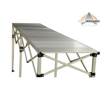 Table pliante hauteur réglable 2,85m x 58cm plateau aluminium pliable