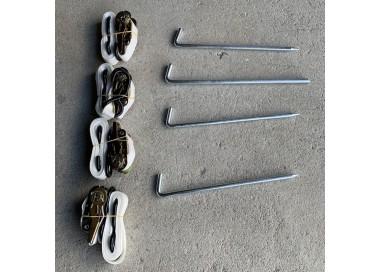 Kit d'haubanage lot de 4 sangles + 4 piquets pour tonnelle pliante