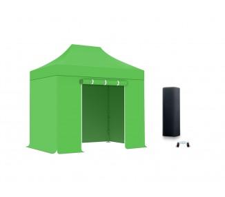 Pack Tente pliante 3x3m structure acier 30mm toit 300g/m² avec 3 bâches pleines + 1 porte