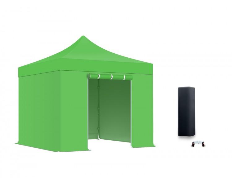 Pack Tente pliante Médium acier 30mm toit 300g/m² avec 3 bâches pleines + 1 porte