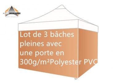 Lot de 4 bâches Murs 300gr/m² (3 pleines + 1 porte)