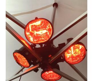 Chauffage à 4 Lampes, 2000W IP23 pour tente pliante et parasol